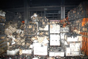 One shot of the result of the wine warehouse fire. 4.5 million bottles of rare wine were destroyed. Photo by ATF.