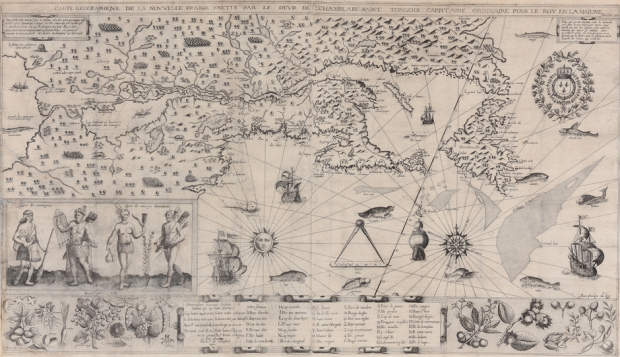 The stolen and recovered Champlain map. A tear for those not digitised.