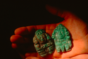 The sort of jade object a looter would reasonably expect to find in a Copán tomb. Image from National Geographic by K. Garrett