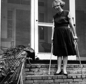 Flannery O'Connor and her peackock in Milledgeville, GA