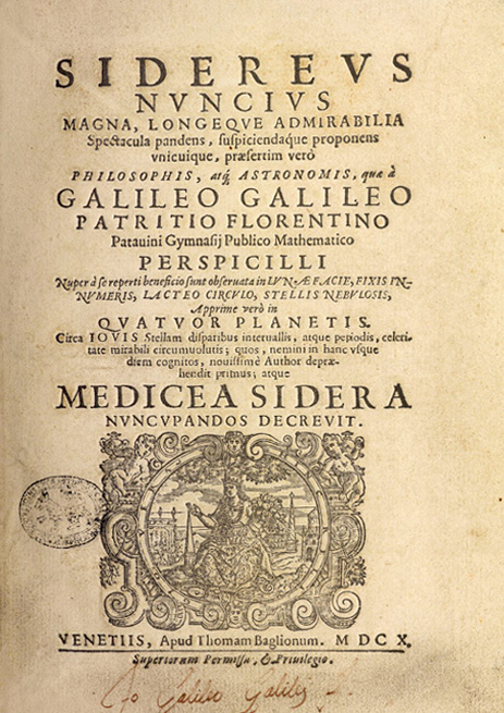 The forgery's title page. Note the forged Galileo signature at the bottom.