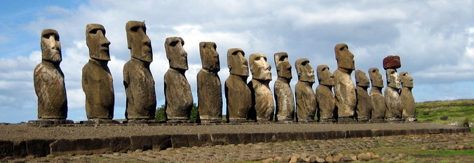 Moai with bodies facing inland at Ahu Tongariki by Ian Sewell