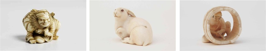 Netsuke Hare with Amber Eyes