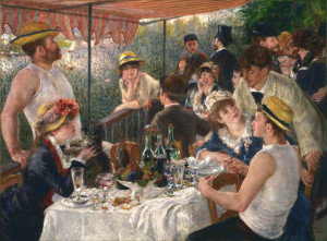 Charles Ephrussi is in the back of Renoir's famous work, having a chat.