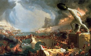 "Thomas Cole's ""The Course of Empire"" showing the burning of the Library of Alexandria"