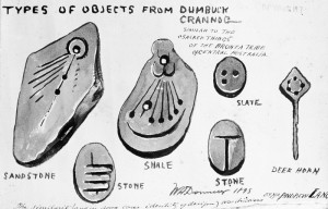 Some of the curious fakes from Dumbuck as drawn by Donnelly (RCAHMS)