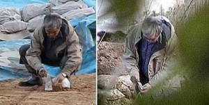 Fujimura planting artefacts at Kamitakamori.