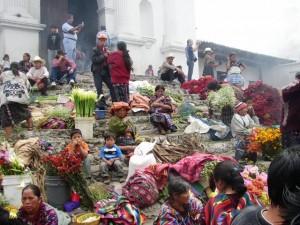 Church steps at Chichicastenango, Guatemala