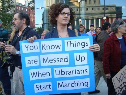 Librarian protesting