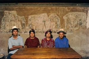 Chajul family with paintings in house