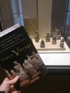 My copy of Ivory Vikings went to visit the ivory vikings themselves at the National Museum of Scotland.