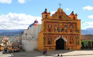 Colourful church at San Andrés Xecul, Guatemala